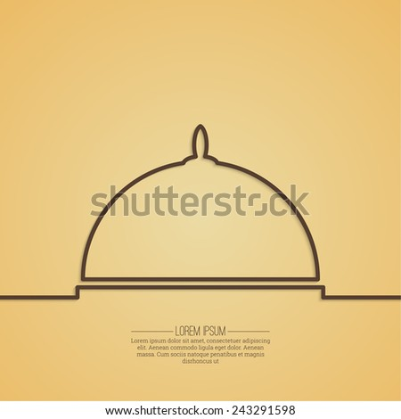 Abstract background with a tray Platter. Outline. - stock vector