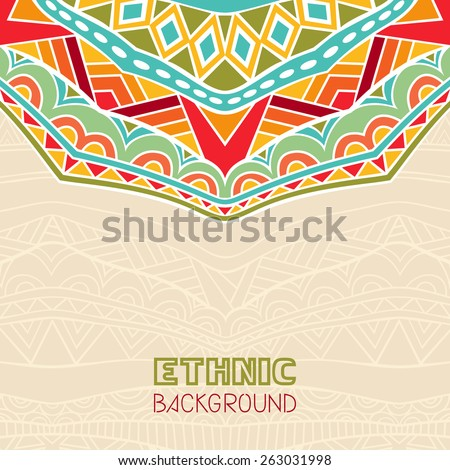 Abstract background with African ornament. Copy space. Template for greeting card, invitation or poster with ethnic pattern. Vector file is EPS8.  - stock vector