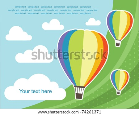 abstract background with air balloon. vector illustration - stock vector