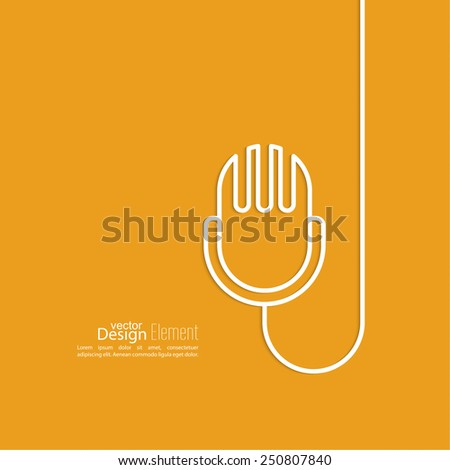 Abstract background with an old microphone. Notification, advertising, writing, and important messages. Radio broadcast. On air. Outline - stock vector