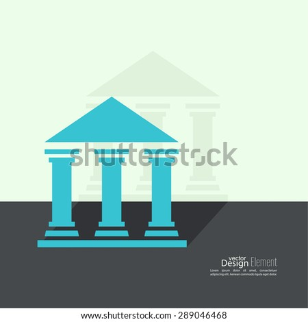 Abstract background with ancient building with columns and roof.  Bank University Museum Icon. Flat design with shadow - stock vector