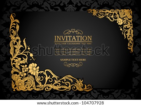 Abstract background with antique, luxury black and gold vintage frame, victorian banner, damask floral wallpaper ornaments, invitation card, baroque style booklet, fashion pattern, template for design - stock vector