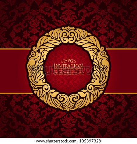 Abstract background with antique, luxury red and gold vintage frame, victorian banner, floral wallpaper, garland ornament, invitation card, baroque style booklet, fashion pattern, template for design - stock vector