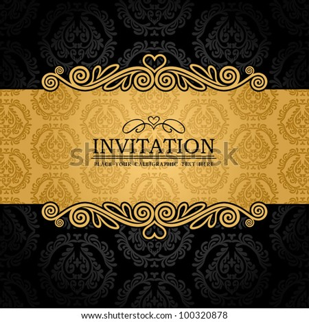 Abstract background with antique, vintage frame and banner, black damask wallpaper with ornamental, gold invitation card, baroque style label, fashion pattern, graphic ornament for decoration, design - stock vector