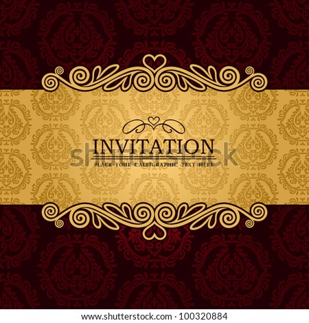 Abstract background with antique, vintage frame and banner, red damask wallpaper with ornamental, gold invitation card, baroque style label, fashion pattern, graphic ornaments for decoration, design. - stock vector