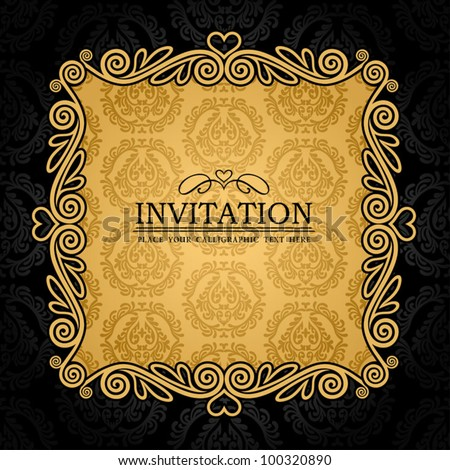 Abstract background with antique, vintage frame, black damask wallpaper with ornamental, gold invitation card, baroque style label, fashion seamless pattern, graphic, geometric ornaments for design - stock vector
