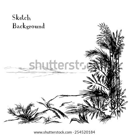 abstract background with bamboo trees and mountains in the distance, vector illustration - stock vector