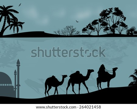 Abstract background with bedouin riding camel during the blue night , vector illustration - stock vector