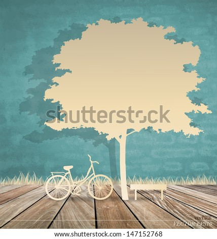Abstract background with bicycle under tree. Vector Illustration. - stock vector