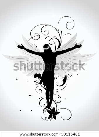 abstract background with black floral, wing with jesus silhouette - stock vector