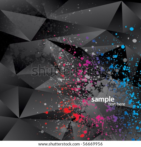 Abstract background with black triangles and color sprays - stock vector