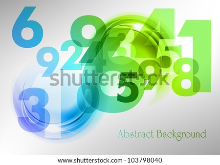 abstract background with blue and green numbers - stock vector