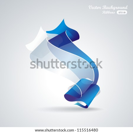 abstract background with blue and white ribbon - stock vector