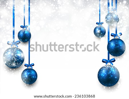 Abstract background with blue christmas balls. Vector illustration.  - stock vector