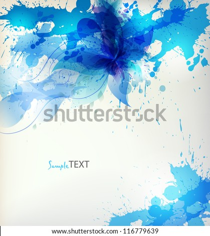 abstract background with blue flower and blots