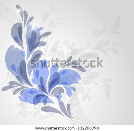 Abstract background with blue ornament and glowing stars - stock vector