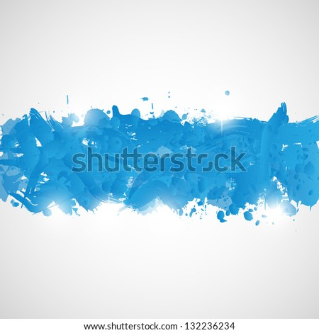 Abstract background with blue paint splashes. Vector illustration. - stock vector