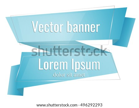 Abstract background with blue ribbon. Vector banner, label, frame for your text