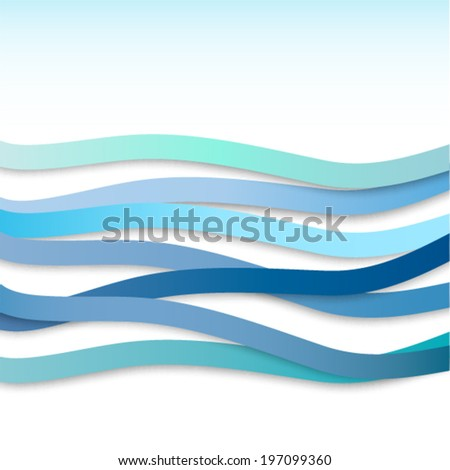 Abstract background with blue wavy stripes. Vector illustration - stock vector