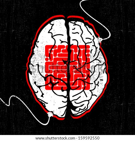 Abstract background with brain of the future - stock vector