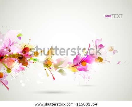 Abstract background with branch of floral - stock vector