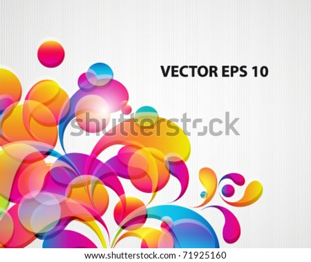 Abstract background with bright circles and teardrop-shaped arches. - stock vector