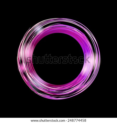 Abstract background with bright violet circle on black background. Vector banner with place for your text. - stock vector