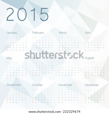 Abstract background with calendar 2015. Vector. - stock vector
