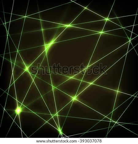 Abstract background with chaotic green neon laser thin lines - stock vector