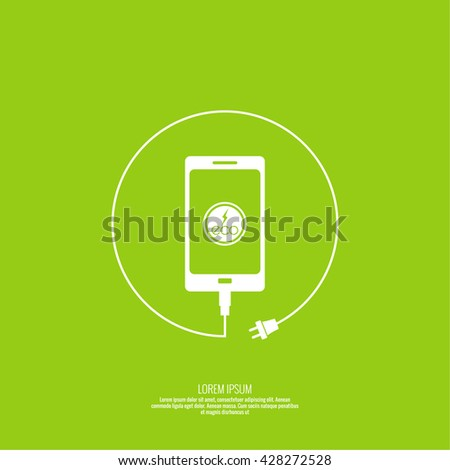 Abstract background with charge eco power. usb cable is connected to the phone. Vector. smartphone is connected usb cable. Eco power. Eco energy. Renewable green energy. - stock vector
