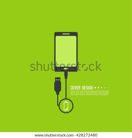 Abstract background with charge mobile phones. usb cable is connected to the phone. The concept charging. Vector. smartphone is connected usb cable power charging. Low power - stock vector