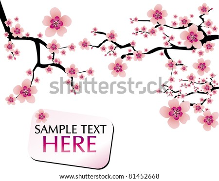 abstract background with cherry blossom and banner - stock vector