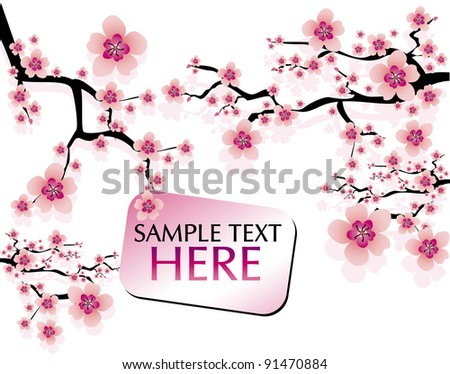 abstract background with cherry blossom and banner