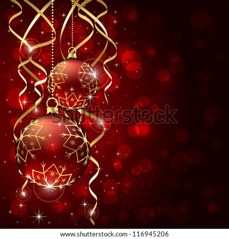 Abstract background, with Christmas baubles, stars, snowflakes and blurry lights, illustration.