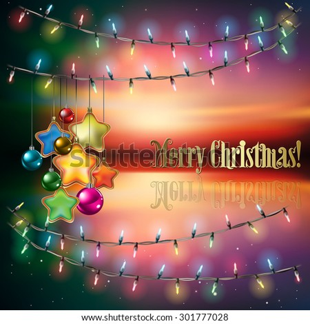 Abstract background with Christmas lights decorations and stars - stock vector