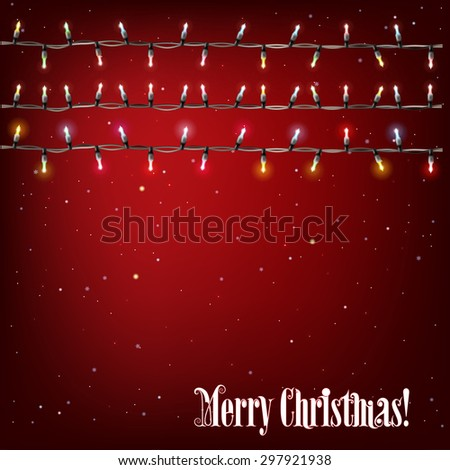 Abstract background with Christmas lights on red - stock vector