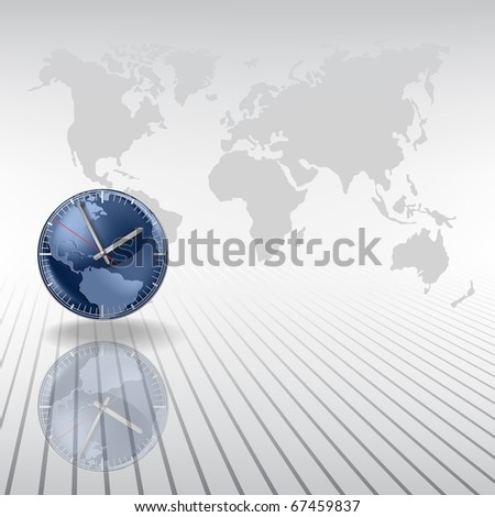 Abstract background with clock on a grey