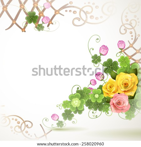 Abstract background with clover and roses - stock vector