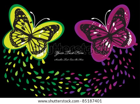 abstract background with color butterflies, drops and place for your text isolated on black background