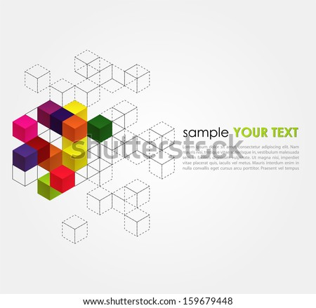 Abstract  background with color cubes and grid - stock vector