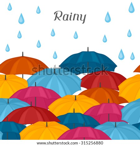 Abstract background with colored umbrellas and rain drops.