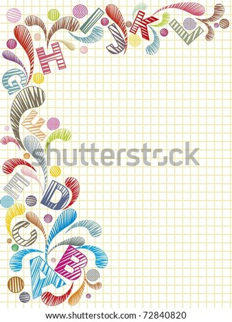 abstract background with colorful artwork, alphabet, vector illustration - stock vector