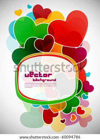 Abstract background with colorful design of heart, vector illustration. - stock vector