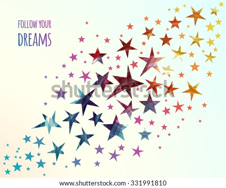 Abstract background with colorful Falling Stars. Follow your dreams. Meteoroid, Comet, Asteroid, Stars on White Background. Vector illustration - stock vector