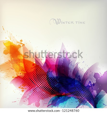 abstract background with colorful flower and blots.Christmas & New Year - stock vector