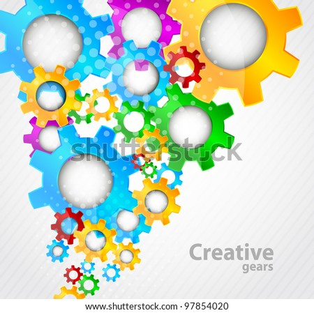 Abstract background with colorful gears and light - stock vector