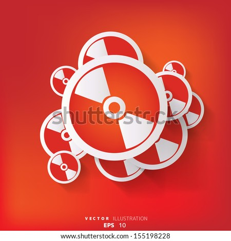 abstract background with compact disk web icon - stock vector