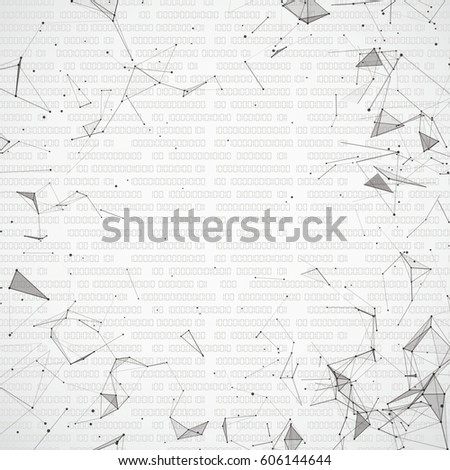 Abstract background with connected dots and data. Eps 10 vector file.