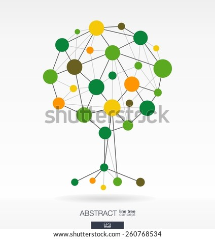 Abstract background with connected lines and integrated circles. Growth tree concept for communication, business, social media, eco, technology, network and web design. Vector illustration. - stock vector
