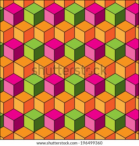 Abstract background with cube decoration pattern. Retro polygonal style design